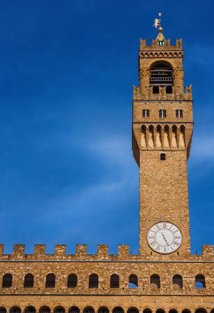 Palazzo Vecchio (Old Palace), the beautiful Florence town hall erected in the 14th century and  designed by the famous medieval architect Arnolfo di Cambio (with copy space) 新聞圖片