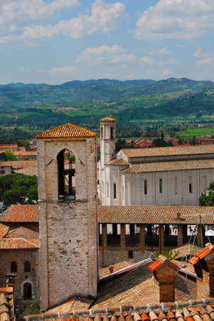 View of Gubbio old medieval historic center with the beautiful Umbrian contryside in the background