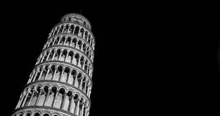 Leaning Tower of Pisa seen from below (Black and White with copy space) Stock Photo - 131677232