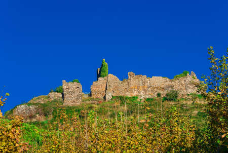 Old castle ruins at the top of Trevignano Romano hill, a small town near Rome
