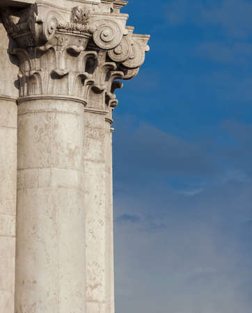 Classical architcture in Venice. Corinthian column and capital from Church of Saint Barnabas facade, erected in the 18th centry (with copy space) Foto de archivo