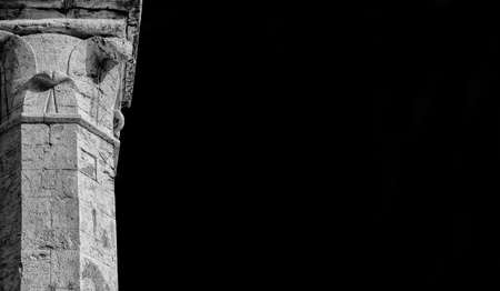 Medieval architecture in Perugia. Ancient marble column (Black and White with copy space) Banco de Imagens