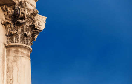 Classical architecture in Venice. Corinthian column and capital from Gesuati Church facade, erected in the 18th century (with copy space) Banco de Imagens