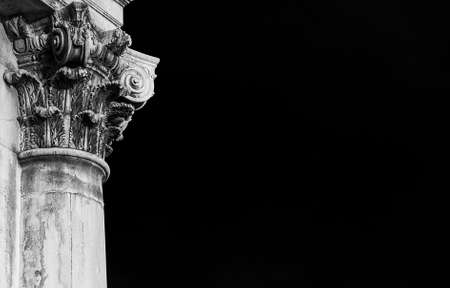 Classical architecture in Venice. Corinthian column and capital from Gesuati Church facade, erected in the 18th century (Black and White with copy space) Banco de Imagens