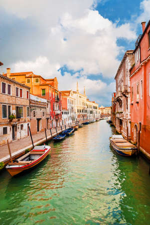 View of a characteristic Venice canal and old traditional houses in the quiet Cannareggio District Banco de Imagens