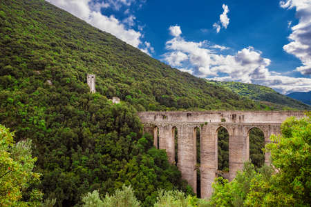 Ancient medieval Ponte delle Torri (Tower Bridge) ruins in Spoleto among woods