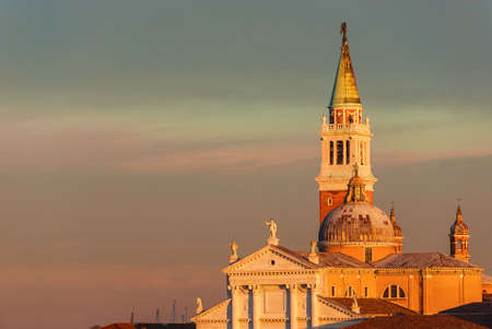 St George Basilica in Venice at sunset (with copy space) Banco de Imagens