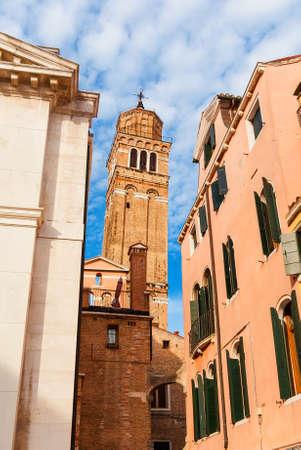 St Stephen old leaning belfry in Venice Banco de Imagens - 138573745