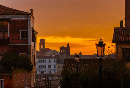 Sunset view of Giudecca Island at sunset from Dorsoduro old Venice district