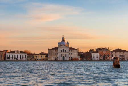 Sunset view of the late renaissance Zitelle Church on Giudecca Island in Venice Lagoon Banco de Imagens - 139641178