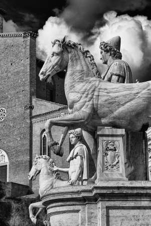 Capitoline Hill ancient roman statues of the two Dioscuri in the center of Rome, dated back to the 1st century BC (Black and White) Banco de Imagens