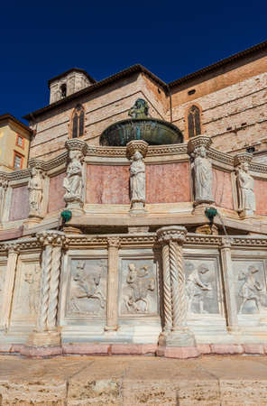 Fontana Maggiore (Great Fountain) in the historic center of Perugia, erected in the 13th century