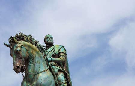 Cosimo I de Medici, Grand Duke of Tuscany, renaissance statue erected in 1594 in Signoria Square in Florence (with copy space)