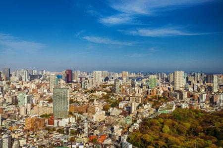 View of Minato-Ku skyline with Meguro, Shinagawa, Shiba, Odaiba districts and Tokyo Bay