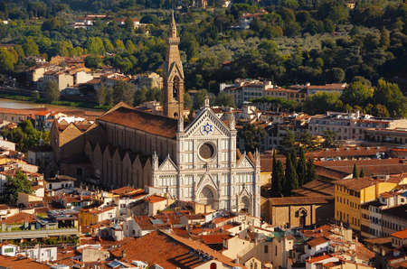 The famous Santa Croce (Basilica of the Holy Cross) in the historic center of Florence. also known as the Temple of the Italian Glories