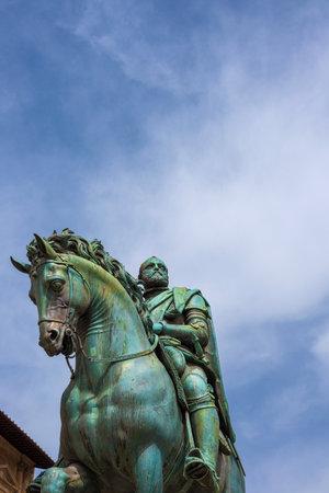 Cosimo I de Medici, the first Grand Duke of Tuscany, renaissance bronze statue erected in 1594 in Signoria Square in Florence