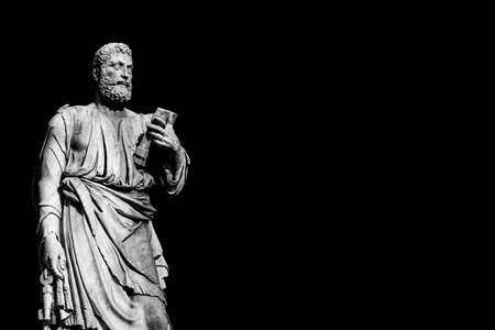 Saint Peter holding the key of heaven statue on Holy Angel Bridge in Rome, made in the 17th century by sculptor Lorenzetto