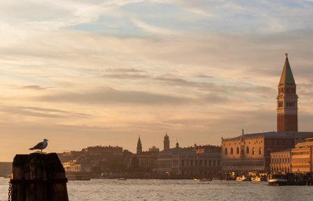 Venice Lagoon with beautiful sunset colors and evening haze