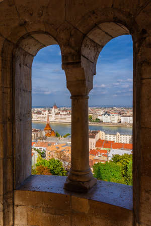 Beautiful view of Budapest historic center with the famous Hungarian Parliament and Danube River from Fisherman's Bastion Towers