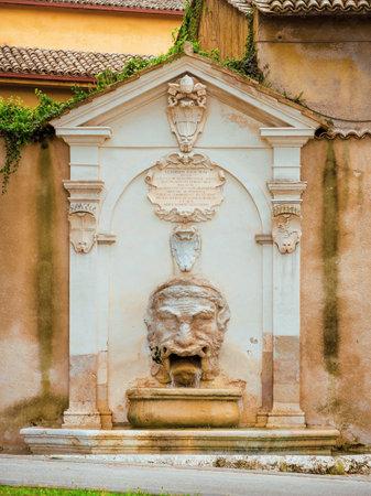 Fontana del Mascherone (Mascaron Fountain) in Spoleto historic center, one of the most famous fountain in the city