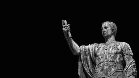 Caesar Augustus Nerva Emperor of Ancient Rome bronze statue in Imperial Forum (Black and White with copy space)