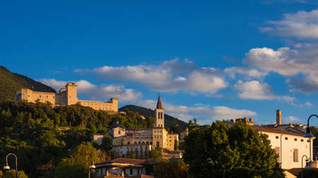 The ancient city of Spoleto in Umbria, with it most famous landmarks and sunset golden light