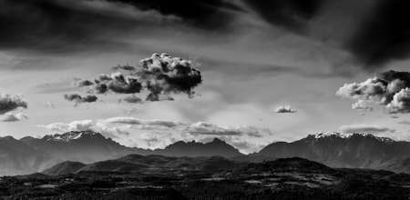 Little Dolomites in Southern Alps with clouds seen from Vicenza (Black and White) 版權商用圖片