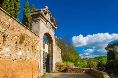 The entrance of Catacomb of Callixtus, one of the biggest and famous catacombs complex of Rome, along the old Appian Way