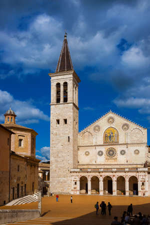 Tourists visit the famous and beautiful Spoleto Cathedral in Umbria