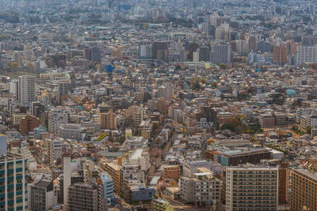 Tokyo endless suburbs, a wall of concrete buildings. View of Shinjuku, Nagano e Suginami district from above