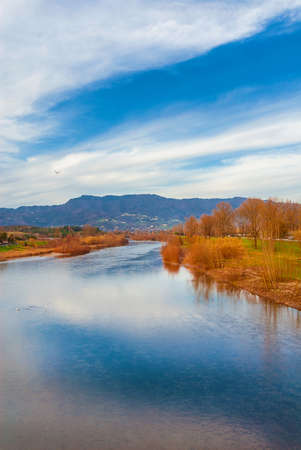 Winter view of River Serchio near the city of Lucca in Tuscany