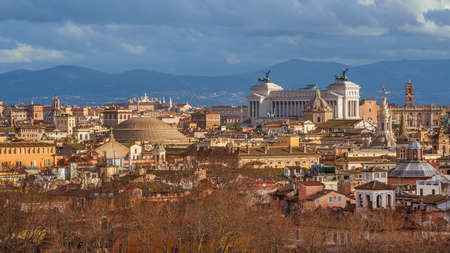 Winter view of Rome historic center beautiful and unique skyline with golden afternoon light