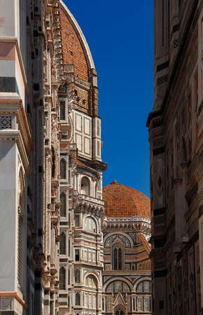 Gothic and Renaissance architecture in Florence, partial view of Santa Maria del Fiore (St Mary of the Flower) dome, chapel and bell tower (14-15th century)