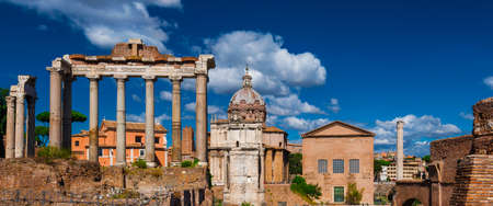 Roman Forum ruins of temples, columns and others ancient buildings, in the historic center of Rome