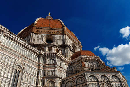 Wonderful dome of Santa Maria del Fiore (St Mary of the Flower) in Florence seen from below, built by italian architect Brunelleschi in the 15th century and symbol of Renaissance in the world