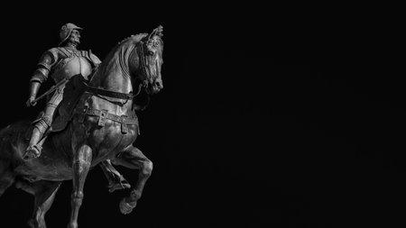 Bartolomeo Colleoni, italian soldier of fortune, bronze equestrian monument in Venice, cast by renaissance artist Verrocchio in the 15th century (Black and White with copy space)