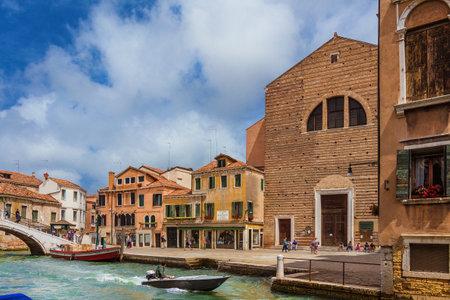 View of Campo San Pantalon Square from Rio Ca Foscari canal in Venice historic center