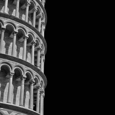 The famous Leaning Tower of Pisa (Black and White with copy space) Фото со стока