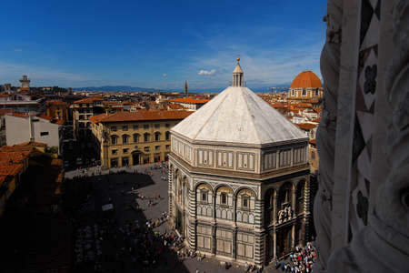 View of St John Square in the very center of Florence historic center with the famous medieval baptistery and St Lawrence dome