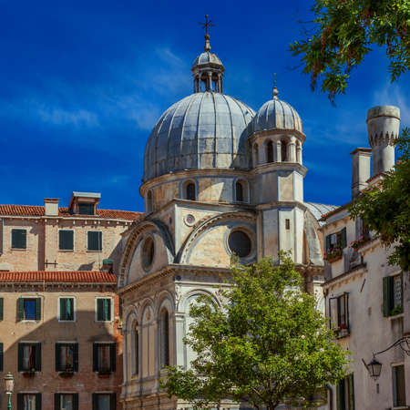 View of the famous St Mary of the Miracles or 'Marble Church' dome, a renaissance architectural jewel in the historic center of Venice