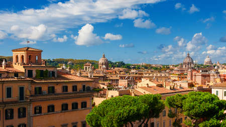 Rome historic center skyline with old domes from Capitoline Hill