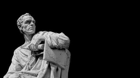 Senator of Ancient Rome. The great orator Lucius Licinius Crassus old marble statue in front of Old Palace of Justice in Rome (Black and White with copy space)