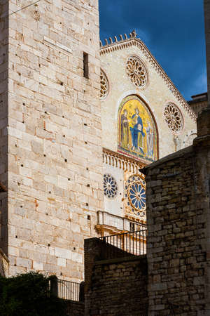 Partial view of the Spoleto Cathedral, a medieval romanesque architectural jewel in Umbria