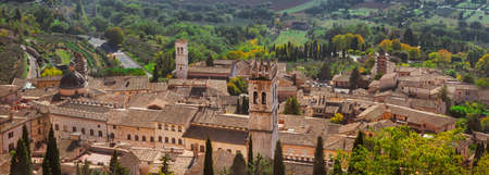 The famous city of Assisi medieval historic center seen from above