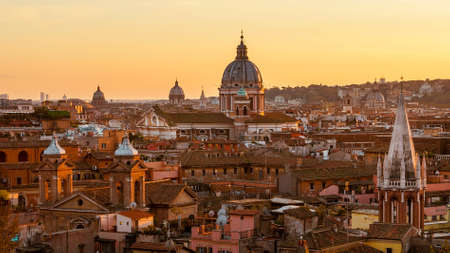 Rome ancient historic center skyline with beautiful sunset light