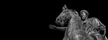 Marcus Aurelius ancient Roman emperor bronze equestrian statue at the center of Capitol Hill Square in Rome (Black and White with copy space) Banque d'images