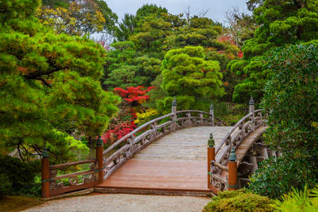 Gardens in Japan. Kyoto Imperial Palace Garden wooden bridge with red maple leaves and green pines