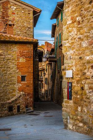 Piazza Castello (Castle Square) in the historic center of Passignano sul Trasimeno, a little town in Umbria, with Torre di Ponente (West Tower) Editorial