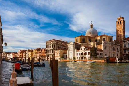 Grand Canal in Venice with Saint Jeremiah Church Stock Photo