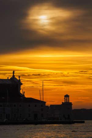 Winter sunset sky over Venice Lagoon